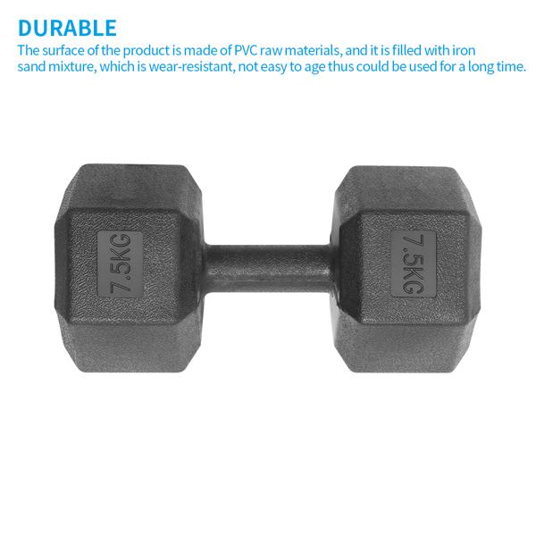 Hexagonal Dumbbells Black Home Gym Fitness Equipment Arm Muscles Training