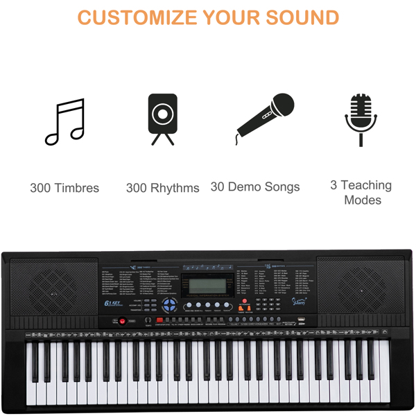 【Do Not Sell on Amazon】Glarry GEP-104 61 Key Portable Keyboard with Piano Stand, Piano Bench, Built In Speakers, Headphone, Microphone, Music Rest, LCD Screen, USB Port & 3 Teaching Modes for Beginner