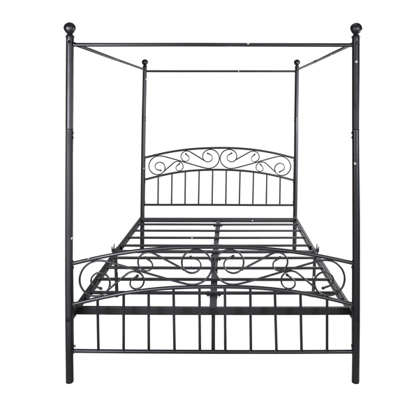 4-Post Metal Canopy Bed Frame Queen Size Vintage style