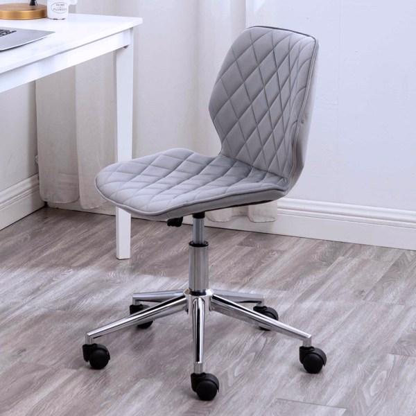 Office Chair Mid Back Modern Swivel Velvet Computer Desk Chair, Grey