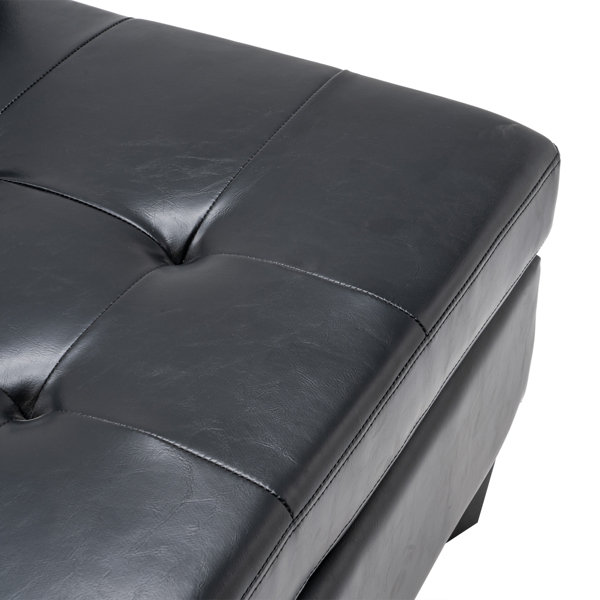 L-shaped Disassembly and Assembly of the Backrest Pull Point, Variable Combination, Three-Seat Indoor Sofa, Solid Wood Soft Bag PU 194*67*83cm Black Simple Nordic Style N101