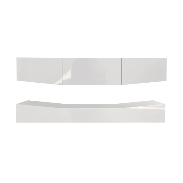 120 Wall Mounted Floating TV Stand with 20 Color LEDs White