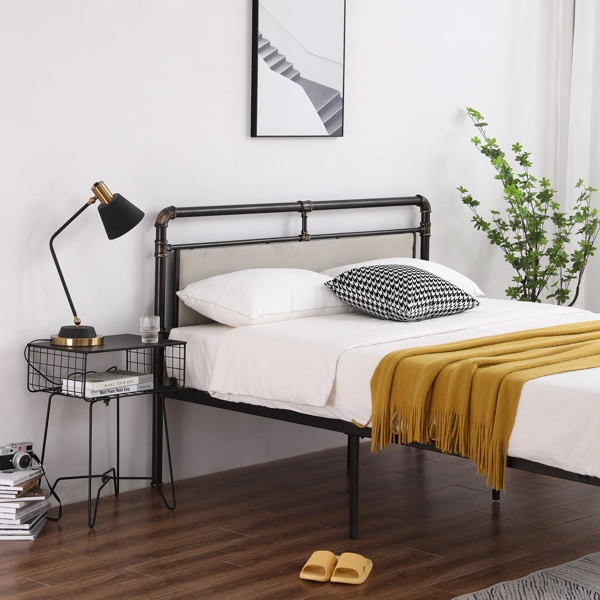 Single-Layer Bed Head and Soft Pull Buckle Bed End Standpipe Water Pipe Bed Full Black Gold-Painted Iron Bed