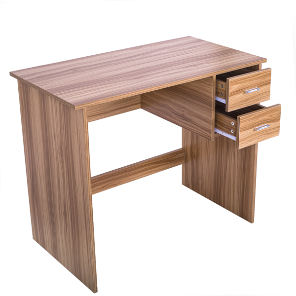 Computer Desk with 2 Pull Out Storage Drawers and Stable Wooden Frame, OAK
