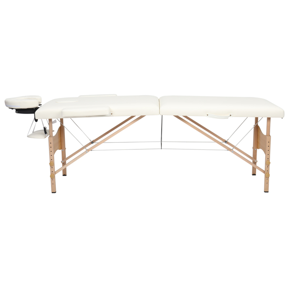 """84"""" 2 Sections Folding Portable Beech Leg Beauty Massage Table 60CM Wide Adjustable Height White"""