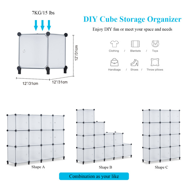 12 Cube Storage Organizer with Doors,Cubes Portable Closet Storage Cube Wardrobe Armoire, DIY Modular Cabinet Shelves, Storage for Clothes, Books, Shoes, Toys