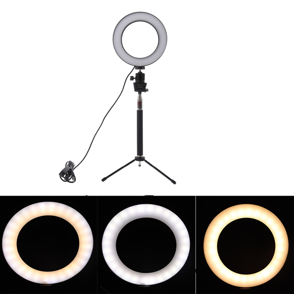Dimmable LED Studio Camera Ring Light Photo Phone Video Light Lamp With Tripods Selfie Stick Ring Table Fill Light For Canon