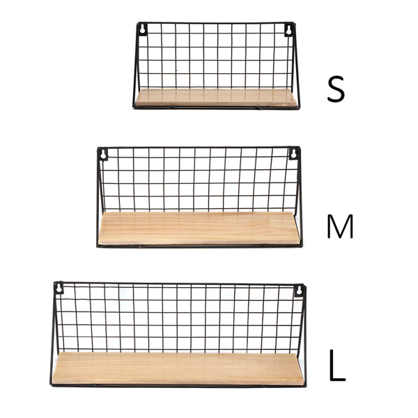 Retro Storage Shelf Wall Mounted Floating Shelves Rustic Metal Rack