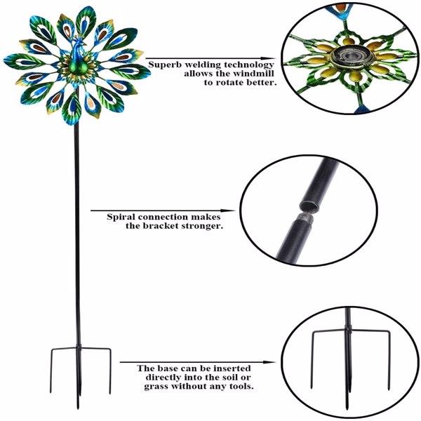 Artisasset 37.5*5*131cm Iron Multicolored Rotatable Courtyard Windmill