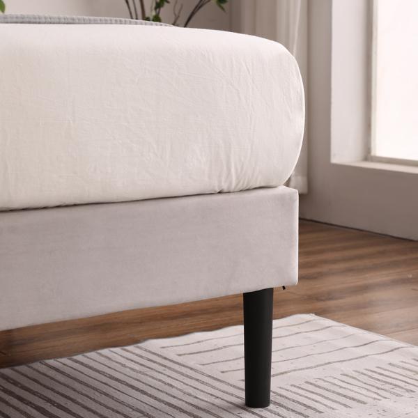 Full Adjustable Headboard Height Flannelette Soft-Packed Bed Light Khaki