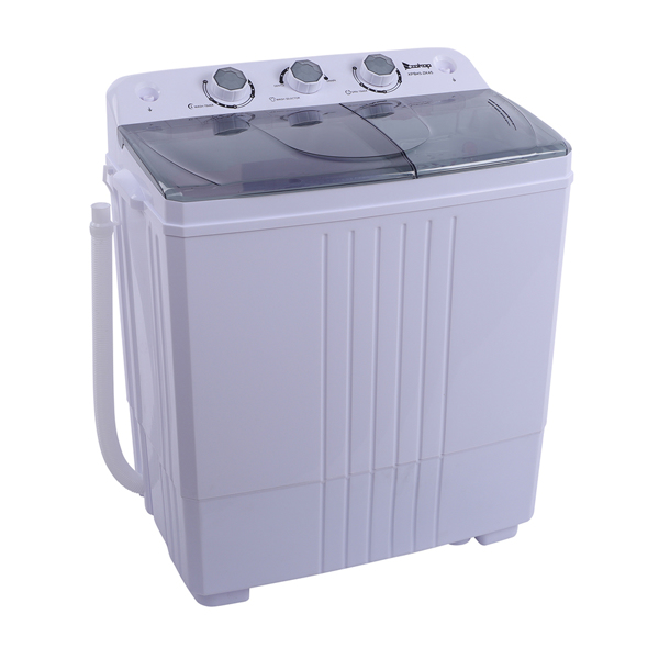 ZOKOP Compact Twin Tub with Built-in Drain Pump XPB45-ZK45 16.5(9.9 6.6)lb Semi-automatic Cover Washing Machine Gray
