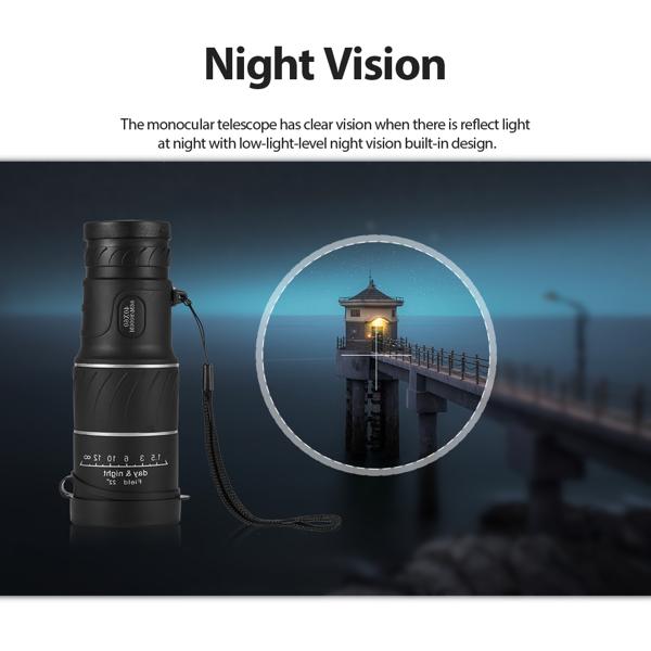 40x60 Single Telescope Night Vision High Definition Optical Glass Monocular Telescope Camping Handheld Telescope Spotting Telescope for Hiking Bird Watching Concerts