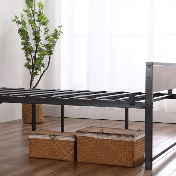 Twin Iron Bed With FootBed Black