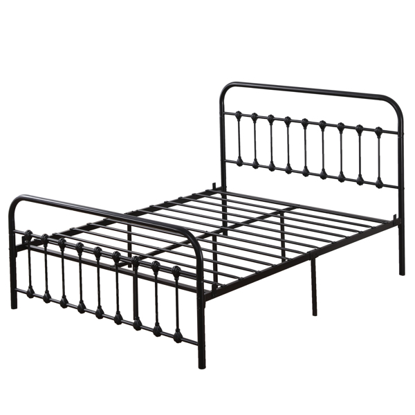 Single-Layer Curved Frame Bed Head and Foot Tube with Shell Decoration Queen Black Iron Bed