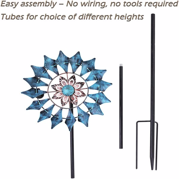 Artisasset 33*17*190cm Iron Ground Plug Windmill Rotatable Courtyard Windmill Lake Blue
