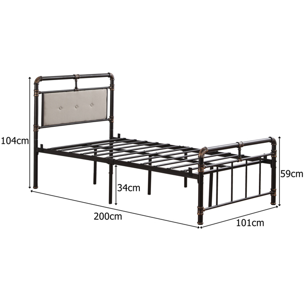 Single-Layer Bed Head and Soft Pull Button Bed End Standpipe Water Pipe Bed Twin Black Gold-Painted Iron Bed
