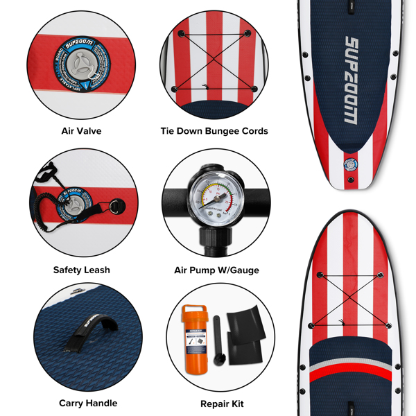"""SUPZOOM Big Star Inflatable 10'6×32""""×6"""" SUP for All Skill Levels Everything Included with Stand Up Paddle Board, Paddle, Hand Pump, ISUP Travel Backpack, Leash, Waterproof Bag, Repair Kit"""