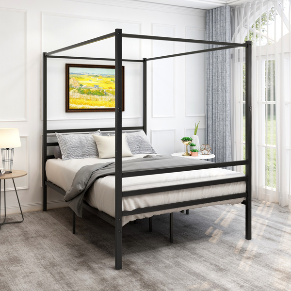 Canopy Metal Bed with Headboard Mattress Foundationt Platform Frame Metal Slat, Black Twin Size