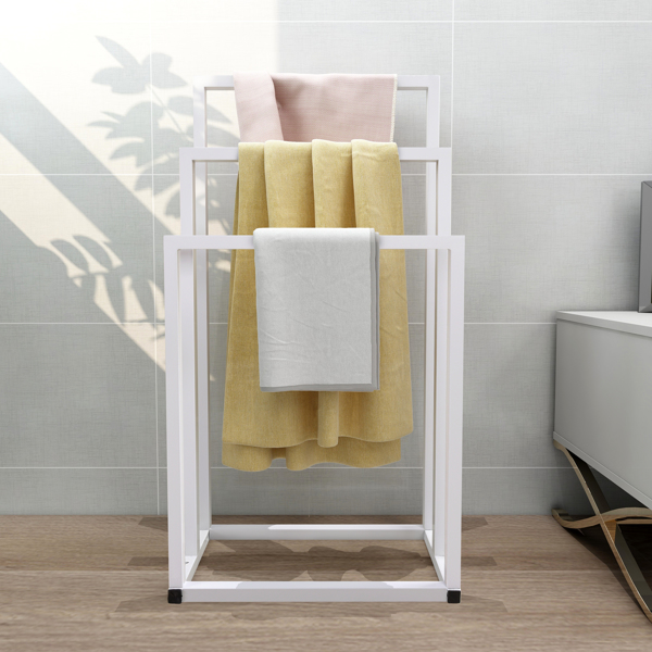 Metal Freestanding Towel Rack 3 Tiers Hand Towel Holder Organizer for Bathroom Accessories,White