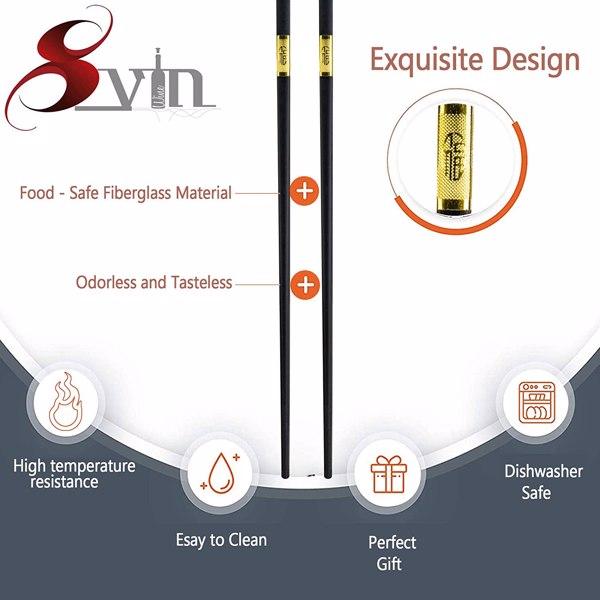 SVIN 12 Pairs Fiberglass Chopsticks - Reusable Chopsticks Dishwasher Safe, Chinese Japanese Korean Chop sticks, Non-Slip, 9 1/2 inches, Durable Chopsticks with Case - Gold