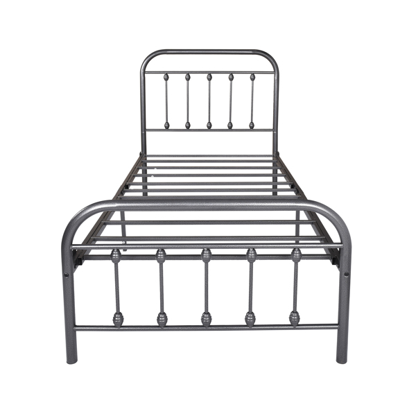Victorian Vintage Style Platform Metal Bed Frame Foundation Headboard Footboard Heavy Duty Steel Slabs ,Twin ,Black Silver