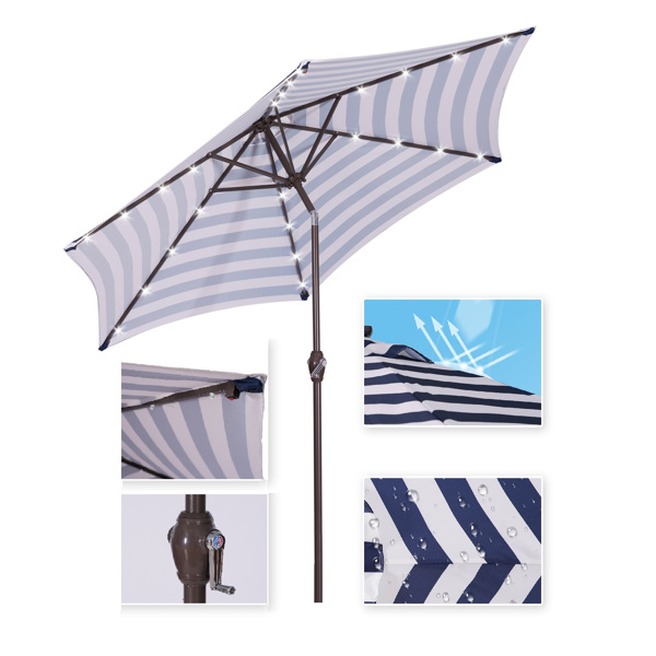 Outdoor Patio 8.7-Feet Market Table Umbrella with Push Button Tilt and Crank, Blue White Stripes With 24 LED Lights[Umbrella Base is not Included]