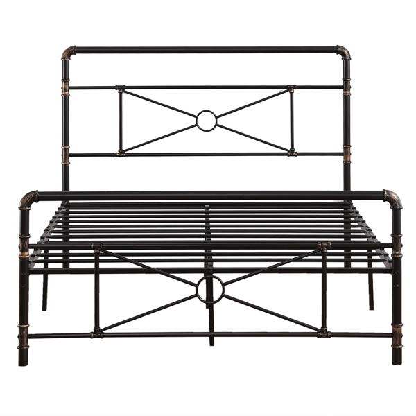 Single-Layer Water Pipe Bed with Cross Design and Foot End Full Black Iron Bed