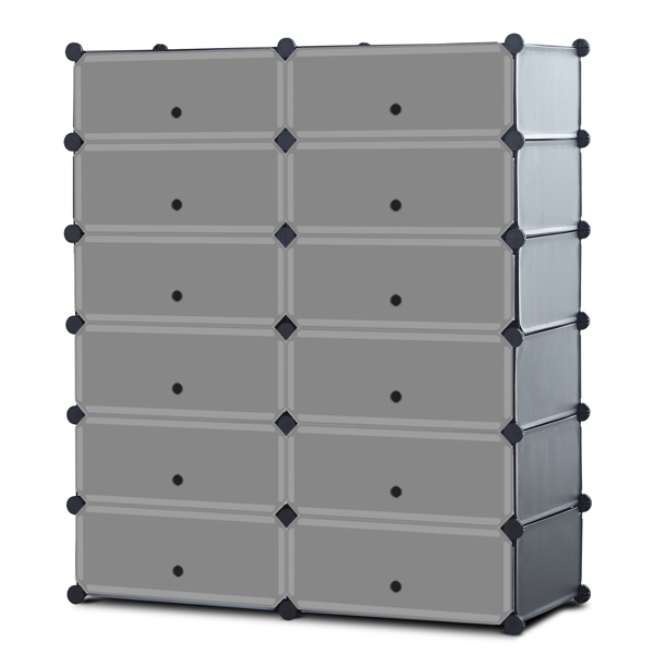 Portable Shoe Rack Organizer 6-Tier 12 Cube Organizer Stackable Plastic Cube Storage Shoe Rack for Space Saving