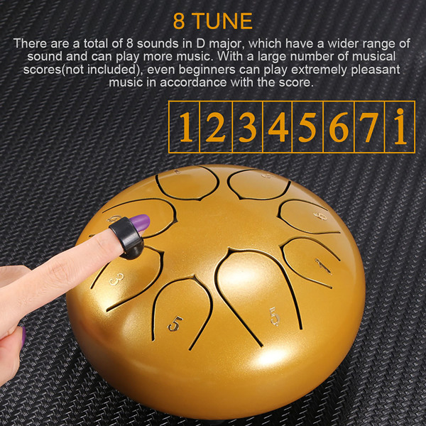 6 Inch Steel Tongue Drum 8 Tune Hand Pan Drum Tank Hang Drum With Drumsticks Carrying Bag Percussion Instruments