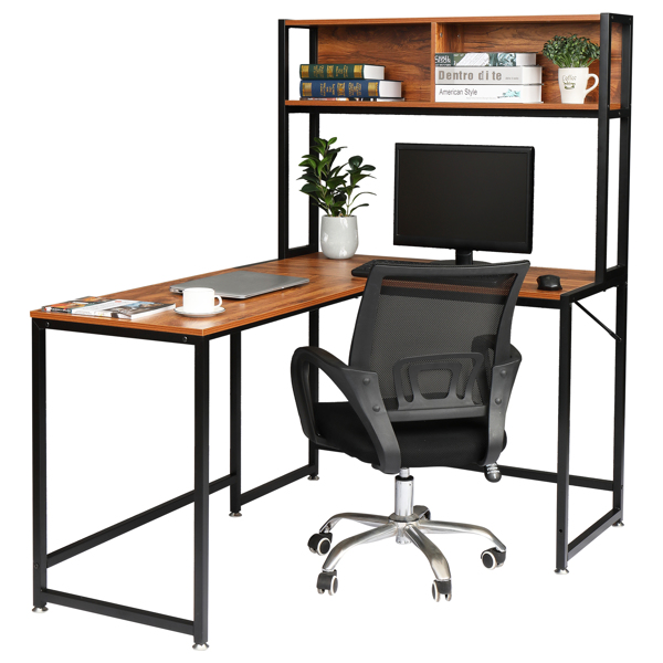 FCH Retro Color Panel, Black Steel Frame Particle Board Pasted With Triamine L-Shaped Right Angle Desk With Shelf Layer Computer Desk