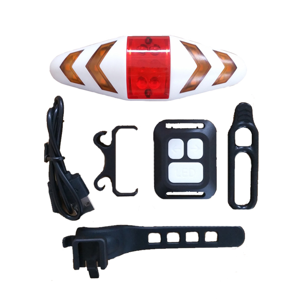Flashing Bike Backlights Rechargeable USB Tail Light Turn Signal Flashlight USB Cables Remote Control