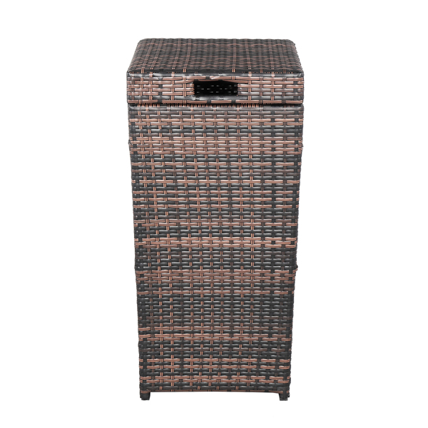 With Top Cover Iron Frame Rattan Trash Can Brown Gradient
