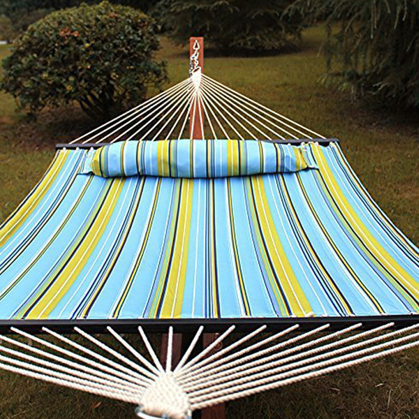 2 Person Hammock, Lengthening and Thickening Quilted Fabric Outdoor Hammock with Spreader Bars Heavy Duty 450 Pound Capacity Net Weight 10.29 lbs