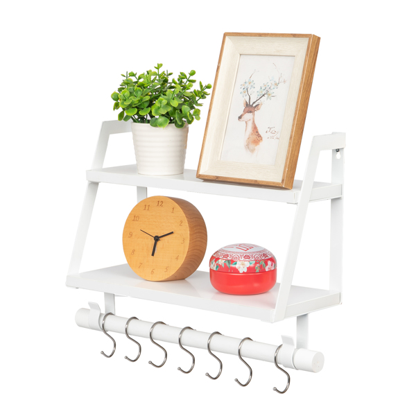 Wall Shelves Wood Floating Shelves, 2 Tier Storage Shelves Bathroom Shelf Kitchen Spice Rack with 8 Hooks,White