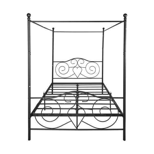 Metal Canopy Bed Frame with Vintage Style Headboard & Footboard / Easy DIY Assembly/ All Parts Included, Queen White