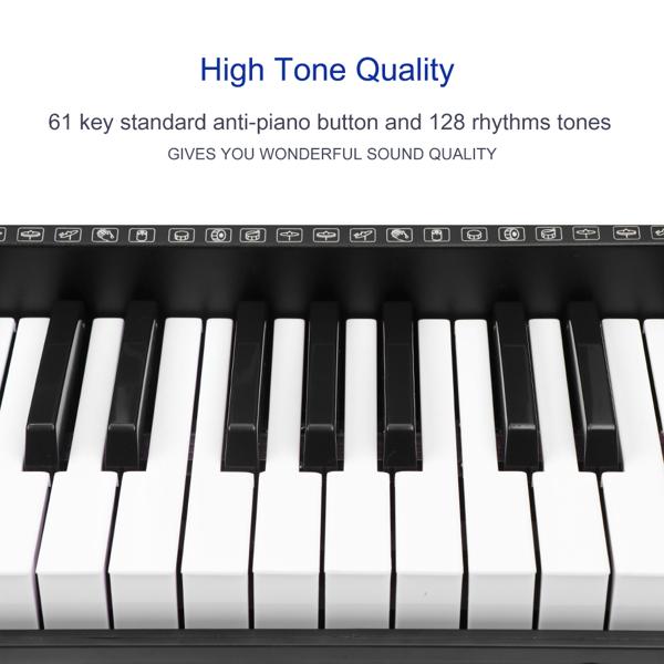 61 Key Electric Digital Piano Organ Musical Microphone Electronic Keyboard Multifunctional Teaching Keyboard 128 Rhythms Tones