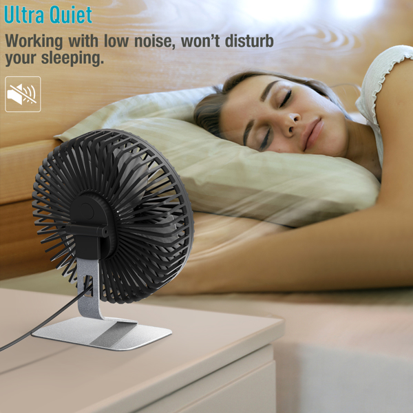 6 INCH USB Desk Fan with Upgraded Strong Airflow, 4 Speeds, Whisper Quiet Desktop Office Table Fan, 90° Adjustable Tilt Angle for Better Cooling,4.9 ft Cord, Silver(亚马逊禁售)