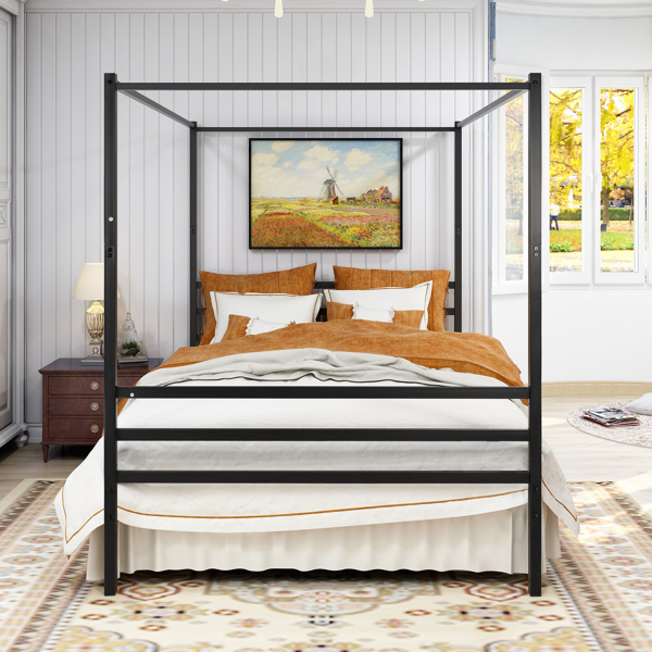 Canopy Metal Bed with Headboard Mattress Foundationt Platform  Bed Frame Metal Slat, Black Queen Size