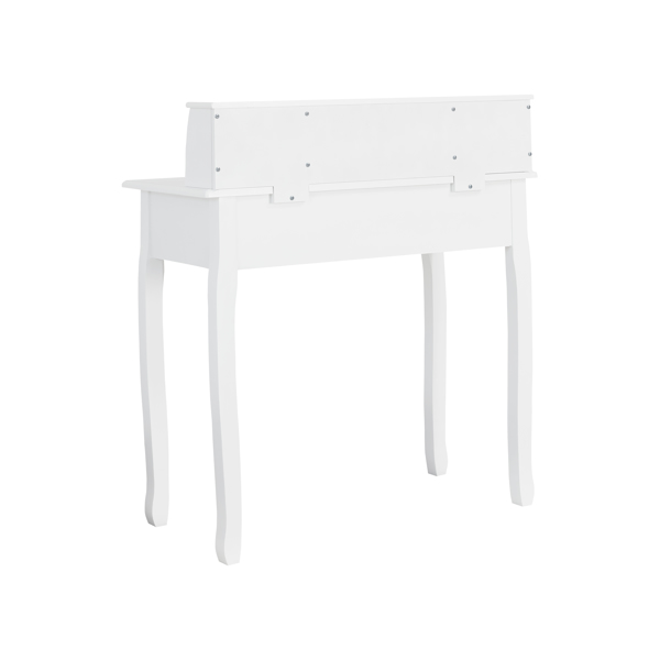 Large Storage Space with 4 Drawers, Secretary Table Computer Desk Writing Table with Detachable Tabletop Organizer, Suit for Home and Office Use (White)
