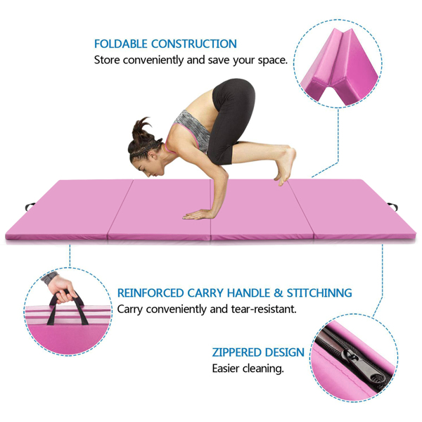 8ft x 4ft 4-Panel Folding Exercise Mat Yoga Gymnastics Aerobics Workout Fitness Floor Mats w/ Carrying Handles Pink