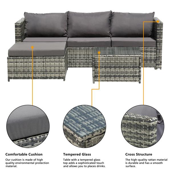 Oshion  Three-Seater Sofa Pedal Coffee Table Dark Gray Cushion Gray Gradient Rattan Three-Piece Rattan Set Iron