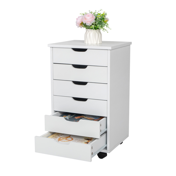 Six Drawers MDF With PVC Wooden File Cabinet White