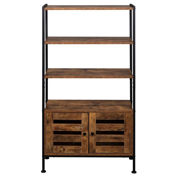 Bookshelf, Storage Cabinet with 3 Shelves and 2 Doors, Industrial Bookcase in Living Room, Study, Bedroom, Multifunctional, Rustic Brown