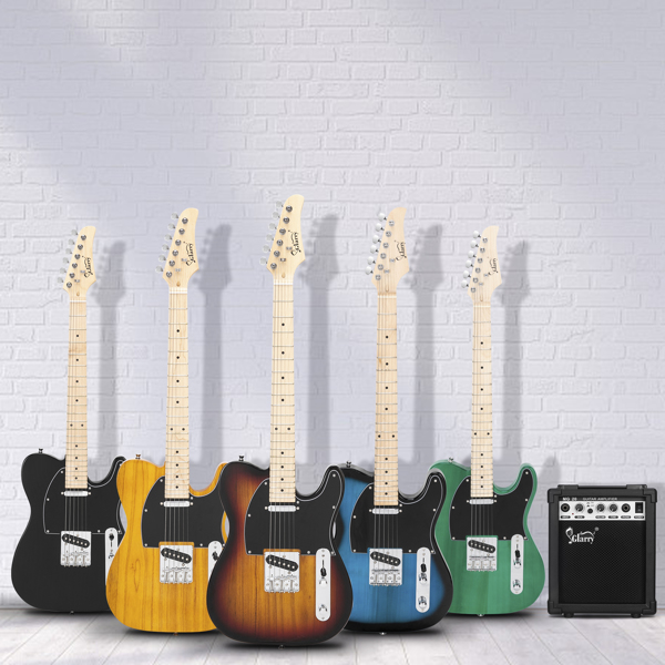 【Do Not Sell on Amazon】Glarry GTL Maple Fingerboard Electric Guitar with 20W Amplifier Bag Strap Plectrum Connecting Wire Spanner Tool Green