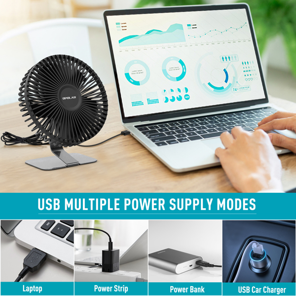 6 INCH USB Desk Fan with Upgraded Strong Airflow, 4 Speeds, Whisper Quiet Desktop Office Table Fan, 90° Adjustable Tilt Angle for Better Cooling,4.9 ft Cord, Black(亚马逊禁售)