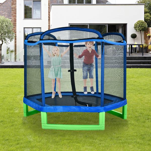 7ft Blue Guard Bar Blue Cover Green Feet Plastic Feet Mini Hexagonal Outer Net Trampoline
