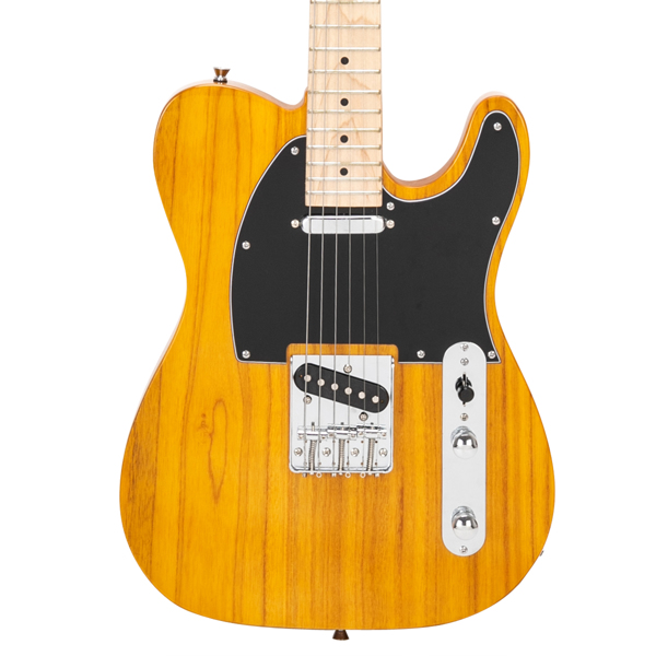 【Do Not Sell on Amazon】Glarry GTL Maple Fingerboard Electric Guitar with 20W Amplifier Bag Strap Plectrum Connecting Wire Spanner Tool Transparent Yellow