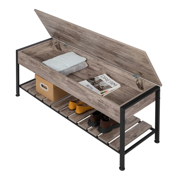 Industrial Storage Bench, Entryway Lift Top Shoe Storage Bench in Dining Room, Hallway, Living Room Metal Frame Gray