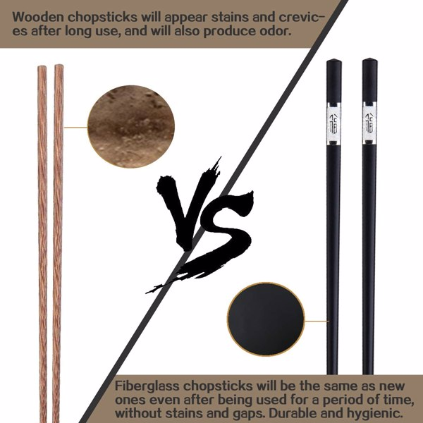 SVIN 12 Pairs Fiberglass Chopsticks - Reusable Chopsticks Dishwasher Safe, Chinese Japanese Korean Chop sticks, Non-Slip, 9 1/2 inches, Durable Chopsticks with Case - Silver