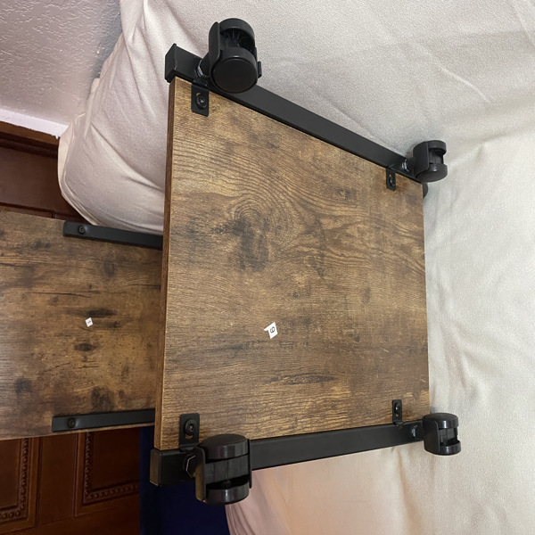 End Table with Rolling Wheels, Couch Table Bed Side Table, C Shaped Table for Living Room, Bedroom